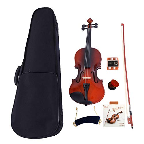 2019 New 3/4 Size Violin Case Acoustic Violin Case Durable Natural Solid Wood Fiddle for Beginners and Students w/Case, Bow and Rosin Strings Shoulder Rest Tuner Natural Color(US Stock)