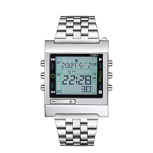 Elektronische Uhr TVG Militärsport LED Uhr Digital TV DVD Fernalarm Herrenmode Herrenmode Lässige Armbanduhr Edelstahl