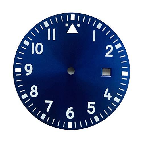 F Fityle La Pieza de reparación de la Esfera del Reloj de 1,31 Pulgadas Brilla en la Oscuridad para Miyota 8200 2813 Movimiento mecánico automático - Azul