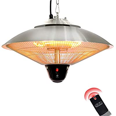 JCJ-Shop 2100W Patio Hanging Electric Heater, Outdoor Halogen Heater with Remote Control and Waterproof IP34 Rated, Have 3 Gears Power Adjustment