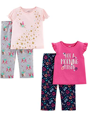Simple Joys by Carter's Girls' Toddler 4-Piece Pajama Set (Short Sleeve Poly Top & Fleece Bottom), Fairy/Floral, 3T