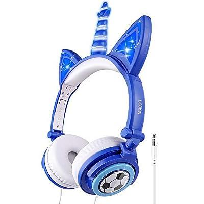 LOBKIN Kids Headphones,Unicorn Cat Ear Wired Fo...