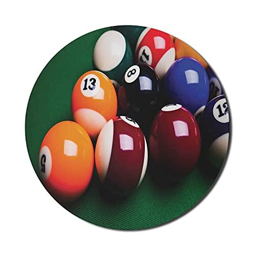 Billard Mauspad für Computer, Foto von bunten Bällen mit Zahlen auf Billardtisch Unterhaltung, rundes rutschfestes dickes Gummi Modern Gaming Mousepad, 8 'rund, Hunter Green Multicolor