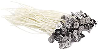 DGQ 8-Inch Natural Candle Wicks with Tabs 100pcs 100% Natural Cotton Core - Low Smoke - Pre-Waxed for Candle Making