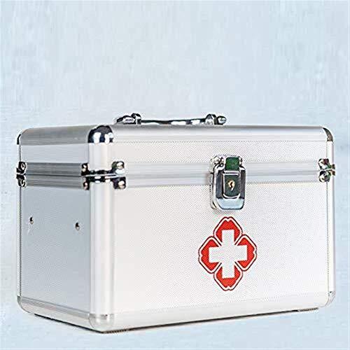Ligero y conveniente, esencial para viajes en casa Kit de primeros auxilios Box Lockable First Aid Box Bloqueo de seguridad Medicina Caja de almacenamiento con mango portátil para automóvil, hogar, vi