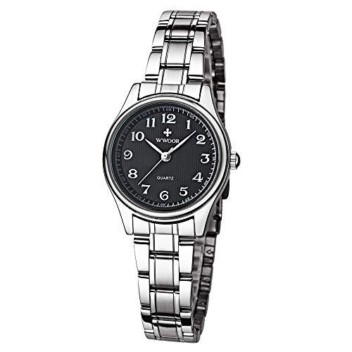 HopeU5 Wwoor Reloj Deportivo para Mujer Moda Banda de Acero Inoxidable Relojes Impermeables Reloj Digital a Prueba de Golpes al Aire Libre (Negro)