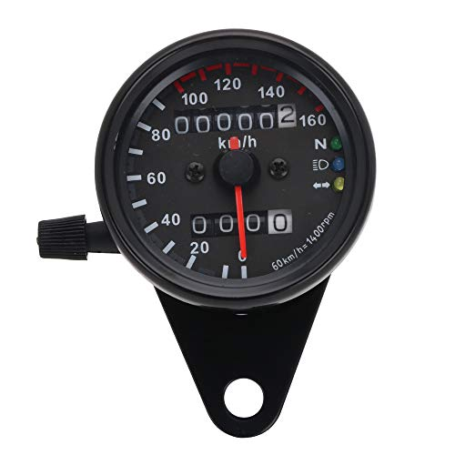 YSMOTO - Tachimetro universale per moto, quadrante nero, contachilometri, indicatore di direzione, indicatore di direzione del faro con retroilluminazione a LED, display digitale (nero)