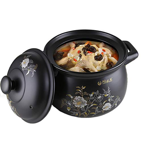 YISUPP Casserole Dish With Lid, Heat-resistant Open-fire Ceramic Stockpot, Household Gas Stock Pot, Clay Pot - Let Yourself Fall In Love With The Kitchen,Black-5.5L