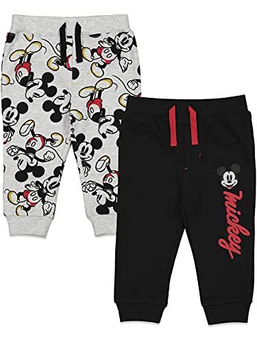 Disney Mickey Mouse - Pantalones de bebé con cordón para niños (2 unidades), Straight, 6-9 meses, Negro y gris