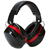 Amazon Basics Noise Reduction Safety Earmuffs Ear Protection, Black and Red