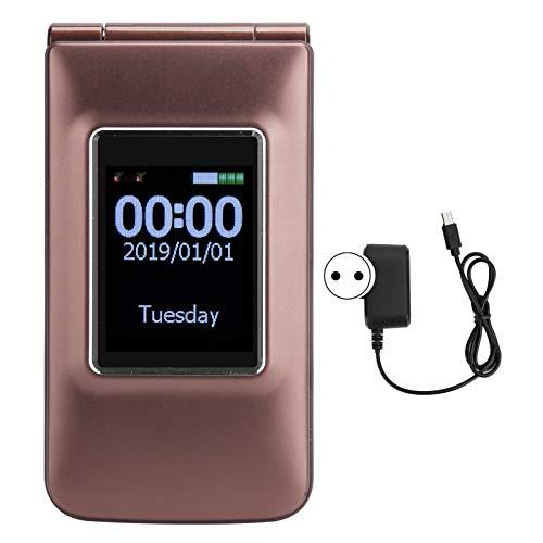 Teléfono móvil abatible para ancianos de 2.6 pulgadas, tarjetas dobles, modo de espera doble, 32 + 32 MB, teléfono móvil con botón grande, con batería de 2800 mAh, para personas mayores y niños(EU)
