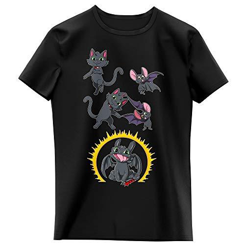 Okiwoki T-Shirt Enfant Fille Noir Parodie Dragons - Krokmou - Fusion Nocturne. (T-Shirt Enfant de qualité Premium de Taille 13-14 Ans - imprimé en France)