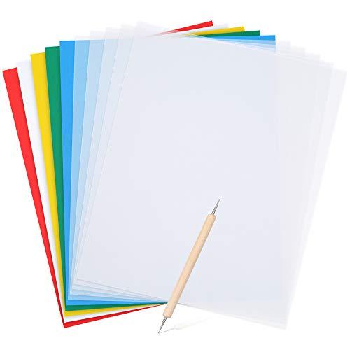 Pllieay Transferpapier-Set, 5 Papiere in verschiedene Farben, 28 x 23 cm, 5 Transparentpapiere und 1 Prägestift für Stoff, Leinwand, Holz, Kreuzstich, Nähen, 11-teilig