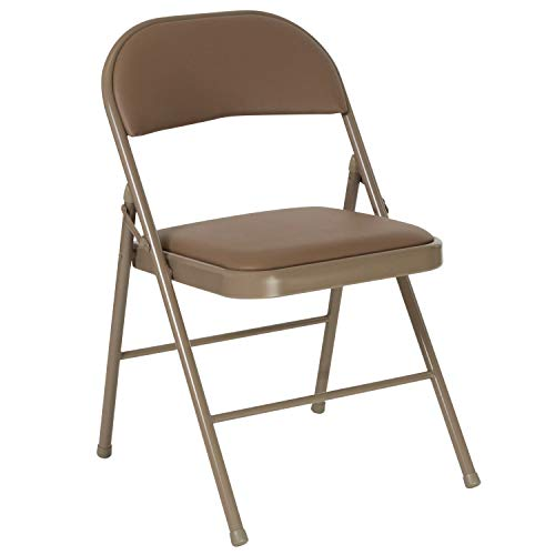 Flash Furniture Beige Vinyl Folding Chair Stuhl, 1 Pack