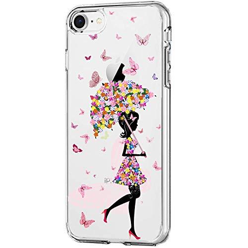 Carcasa para Apple iPhone SE (2020) funda transparente suave silicona gel TPU Clear iPhone SE 2020 protectora Case mariposa mujer modelo ultra fino flexible antigolpes 7 S