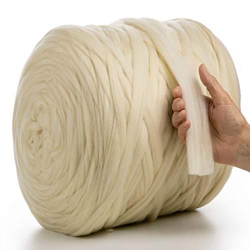 MeriWoolArt 100% lana de merino para punto y ganchillo con hilo de 2 cm de grosor, lana de merino gruesa para bufanda, manta y almohada XXL (color natural, 100 g)