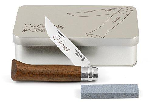 Opinel No.8 Walnussholz Taschenmesser Geschenkdose inkl. Schleifstein und Wunschgravur auf Klinge + Dose