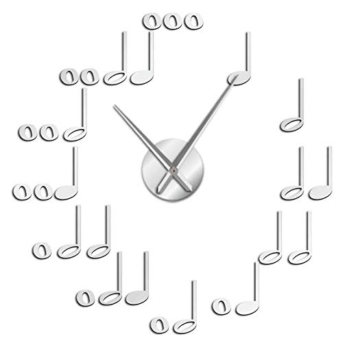 Wrist Watch Wall Clock DIY Music Notes Wall Art Decorative Large Wall Clock Frameless Silent Wall Watch Music Studio Room Wall Decor Musician Gifts,Go