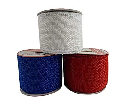 Patriotic Assortment (Pack of 3) Wired Red White Blue Fabric 2 1/2 Inch Wide Ribbon Rolls - Each 3 Yards Long