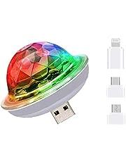 Macabolo Mini USB Disco Ball Licht, draagbare LED auto sfeerverlichting strobe lichten voor kinderen verjaardag feestjes podium DJ verlichting disco decoratie