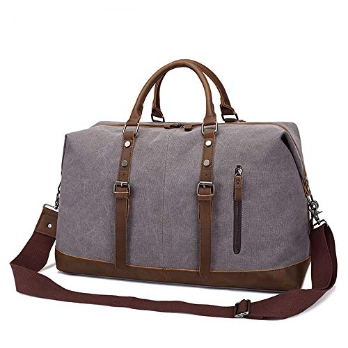 MxZas Overnight Weekend Bag Oversized Canvas Leather Trim Travel Tote Shoulder Handbag Weekend Bag Luggage Dark Khaki (Color : Dark khaki, Size : 52 * 31 * 22.5cm)
