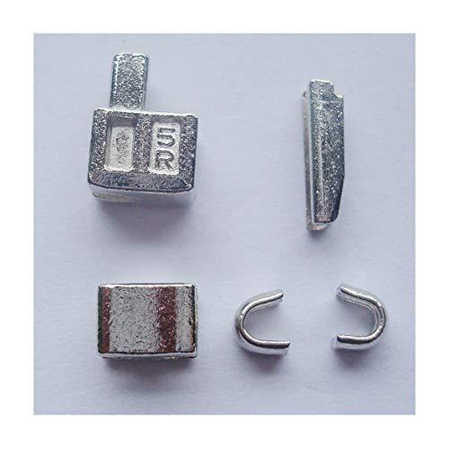 2Sets Reißverschluss-Reparatur-Kit (Silber), Metall-Reißverschlusskopf Nummer 5, Reißverschluss-Schieber mit Einführstift für einfache Reißverschlussreparatur