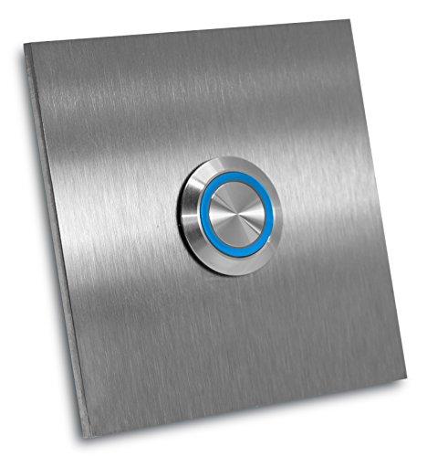 Klingelplatte Rio ohne Gravur 70 X 70 X 3mm Klingelschild Türklingel (LED blau)