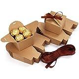 Belle Vous Karton Geschenkboxen Braun mit Band (60 Stk) - Schachteln Kleine Pappschachteln 6,5 x 6,5...