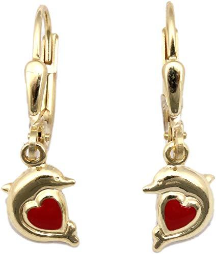 Bambini orecchini pendenti Delfino con cuore 333Oro Giallo Oro qualità