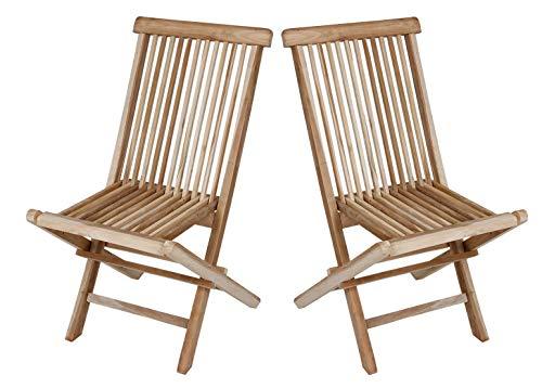 Dynamic24 Set van 2 teak klapstoelen, houten stoelen, tuinstoelen, tuinstoelen, naturel
