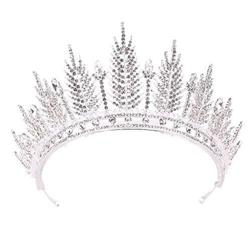 YWSZJ Tiara cristalina Corona Diadema de Princesa Elegante con peines Pines for Muchachas de Las Mujeres de Novia Fiesta de cumpleaños de Fin de Curso de la Boda (Color : Silver)