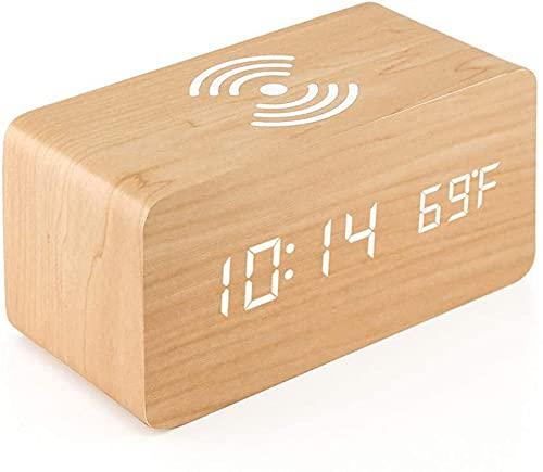 Reloj Despertador con función de Carga inalámbrica, iPhone 11/11 Pro / MAX / XS / XS MAX / X / 8/8 Plus, Galaxy S20 / S10 / S9 / S8, 3 Modos de jornada Laboral para Nota 10/9/8-Amarillo