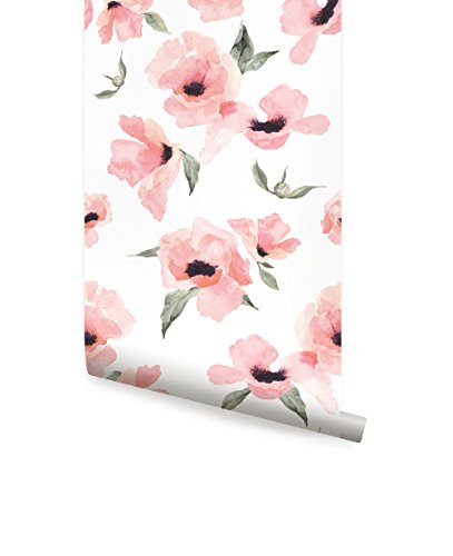 Watercolor Poppy Flowers Wallpaper - Peel and Stick - by Simple Shapes (6 Sheet Pack - 2ft x 9ft)