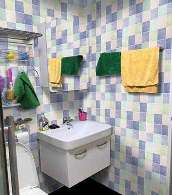 Byrhgood 5m * 60 cm Espesor del baño Fondo de Pantalla Autoadhesivo Impermeable Baño Azulejo Pegatina Pegatina Mosaico Decorativo PVC Pegatina de Pared (Color : 9, Dimensions : 5mx60cm Wide)