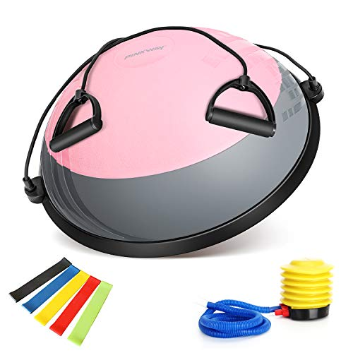 PINKWAY Half Balance Ball Yoga Exercise Ball Trainer Double Color Anti Burst Pilates Ab Strength Exercise Fitness Core Training Equipment Stability Balance Boards with Resistance Bands