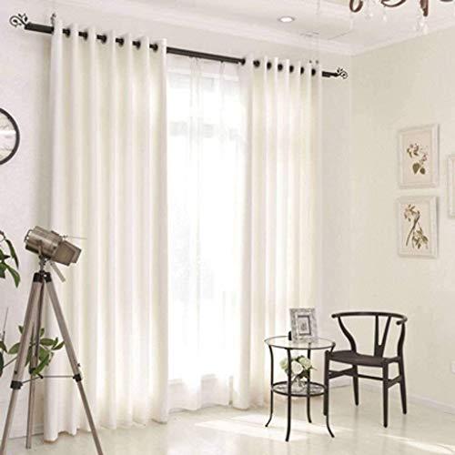 GJXY - Cortina con ojales de un solo color, ideal para la puerta, el balcón, el dormitorio, el salón, suave y de lino, opaca, opaca, opaca, protección térmica, protección visual, color blanco, 150 x 230 cm