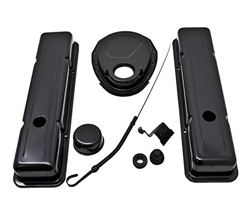1958-86 Compatible/Replacement for CHEVY SMALL BLOCK 283-305-327-350 BLACK STEEL (SHORT) ENGINE DRESS UP KIT - SMOOTH