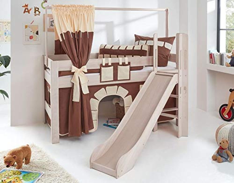 Froschknig24 Hochbett Leo Kinderbett mit Rutsche Spielbett Bett Wei Stoffset Burg, Matratze ohne