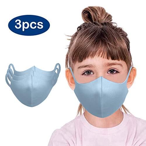 Jungen und Mädchen Einfarbig Baumwolle Gesichtsschal Mundschutz Atmungsaktiv Multifunktionstuch Hochwertiges Gesichtsschal Waschbar (Blau, 3 Stück)