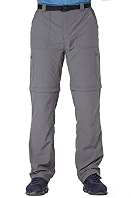 TRAILSIDE SUPPLY CO. Mens Convertible Cargo Hiking Pants Lightweight, Water-Resistant, Ripstop Dark Grey Medium