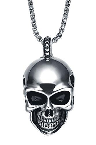 Acciaio inossidabile Collana con pendente da uomo, cranio gotico teschio sorridente ciondolo con catena a maglia tonda- g2049d