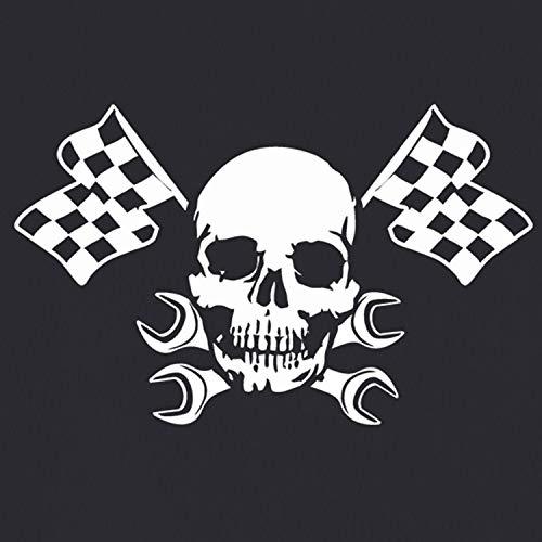 Aufkleber Skull Racing Totenkopf Flaggen Rennsport Tuning 45x72cm #A227