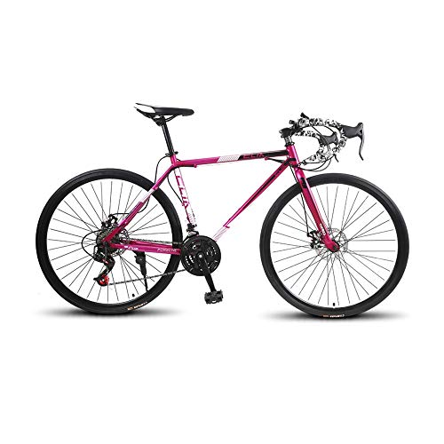 GYZLZZB High Carbon Steel Frame Road Bike 26 Inches, Bicycle Mountain Bike for Adults 21 Speed 700c Wheel Suitable Outdoor Cycling Road Bike Crowd Racing Car Exercise Bikes(Black,Pink)