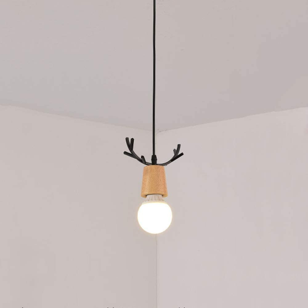 CAIMEI Pendant Classic service Lamp Deer Metal Ceiling Hanging S with Wood Light