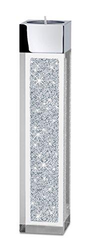 My IMPLEXIONS Moderner Teelichthalter Pylon mittel veredelt mit Swarovski Kristallen/Besondere Tisch-Dekoration