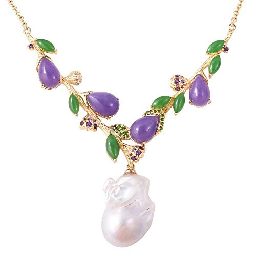 TJC Fresh Water Pearl Necklace for Women in Yellow Gold Plated 925 Sterling Silver with Purple Jade, Green Jade Multi Gemstones Size 18', 69.152 Ct
