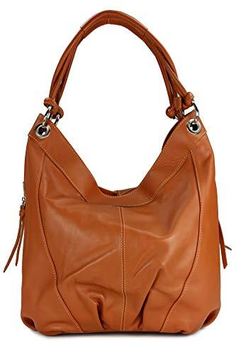 Belli italienische Nappa Leder Handtasche Shopper Damentasche Ledertasche cognac - 35x31(mittig) x17 cm (B x H x T)
