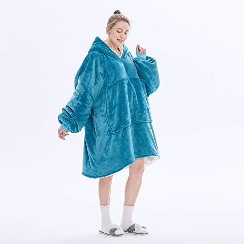 Sudadera con Capucha de Manta de Gran tamaño, Suave, cálida, cómoda, Sudadera Gigante, vellón Reversible, cómoda y usable, con Capucha Sherpa, Sudadera con Capucha para Mujer,Turquoise