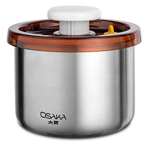 Osaka Vacuum Sealed Canister. Stainless Steel Storage Container for Coffee and More. 'Tempozan' (40oz)
