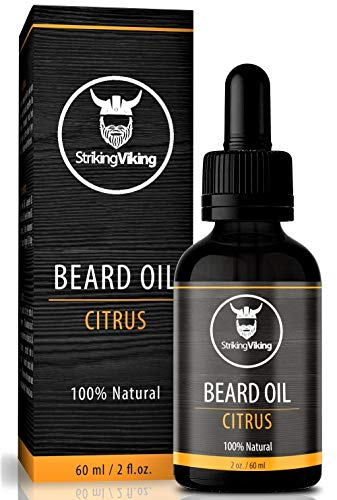 Citrus Beard Oil (Large 2 oz.) - 100% Natural Beard Conditioner with Organic Tea Tree, Argan and Jojoba Oil with Orange Scent - Softens, Smooths, and Strengthens Beard Growth by Striking Viking